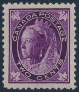Lot 229, Canada 1897 two cent purple QV Leaf, XF NH, sold for $287