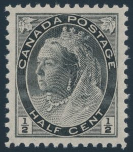 Lot 245, Canada 1898 half cent black QV numeral, XF NH, sold for $98