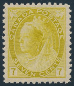 Lot 254, Canada 1902 seven cent olive yellow numeral, XF NH, sold for $805