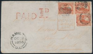 Lot 31, Canada 1855 3d scarlet vermilion Beaver combination cover to England, sold for $4140