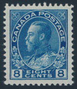 Lot 319, Canada 1925 eight cent blue Admiral, XF NH, sold for $316