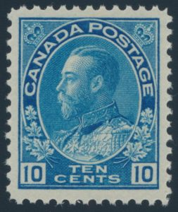 Lot 322, Canada 1922 ten cent blue Admiral, XF NH, sold for $402