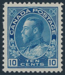 Lot 323, Canada 1922 ten cent blue Admiral, dry printing, XF NH, sold for $402