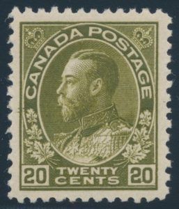 Lot 327, Canada 1925 twenty cent dark olive green Admiral, XF NH, sold for $1035
