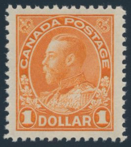 Lot 331, Canada 1925 one dollar orange Admiral, XF NH, sold for $805