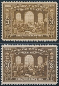 Lots 349 & 350, Canada 1917 three cent Fathers of Confederation in brown & dark brown, VF NH, sold for $431 each