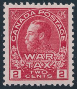 Lot 360, Canada 1915 two cent carmine Admiral War Tax VF NH, sold for $109