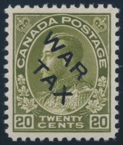 Lot 364, Canada 1915 twenty cent olive green Admiral War Tax, XF NH, sold for $1437