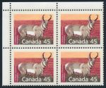 Canada 1990 45c Pronghorn matched plate blocks, perf 13.1, sold for $747.50
