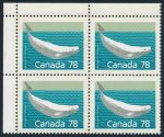 Canada 1990 78c Beluga Whale matched plate blocks, perf 13.1, sold for $862.50