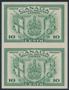 Lot 478, Canada 1942 ten cent green Special Delivery imperf vertical pair, XF NH, sold for $1438