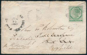 Lot 607, PEI 1869 six pence deep yellow on cover Charlottetown to Port Mulgrove, sold for $632