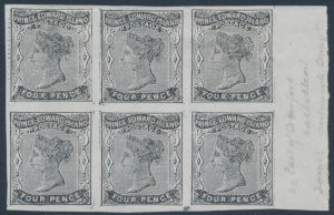 Lot 617 Prince Edward Island #9d 1868 4d black Queen Victoria Imperforate right sheet marginal block of six, unused (no gum), with FOUP variety
