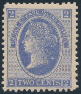 Lot 633, Prince Edward Island 1872 two cents ultramarine, perf 12, VF NH o.g., ex-Crosby PEI, sold for $316