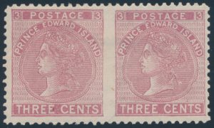 Lot 641, PEI 1872 three cent rose Victoria, perf 12 horizontal pair, VF o.g., sold for $402