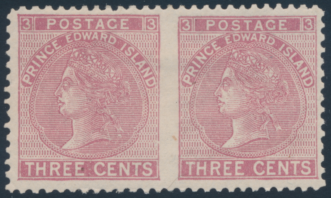 lot 641  pei 1872 three cent rose victoria  perf 12 horizontal pair  vf o g   sold for  402