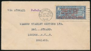 Lot 678, Newfoundland 1932 Dornier DO-X flight cover St. John's to London, sold for $460