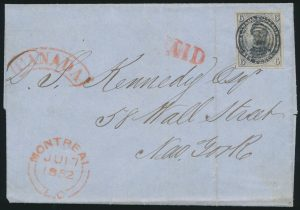 Lot 14, Canada 1852 six pence Consort on folded letter Montreal to New York, sold for $1150