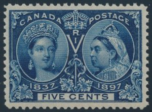 Lot 186, Canada 1897 five cent deep blue Jubilee, VF NH, sold for $241