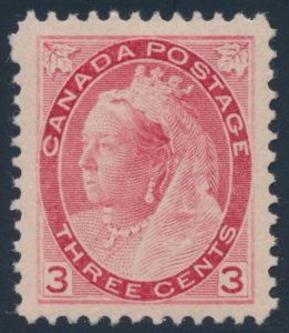 Lot 251, Canada 1898 three cent carmine Numeral, VF NH, sold for $374