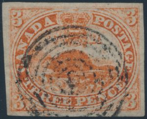 Lot 3, Canada 1851 three penny beaver on laid paper, VF used with light re-entry, sold for $1035
