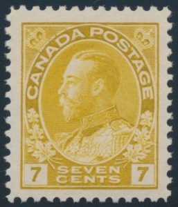 Lot 313, Canada 1916 seven cent yellow ochre Admiral, VF NH, sold for $207