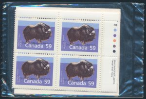 Lot 441, Canada 1989 Musk Ox matched set of plate blocks on Slater paper, sold for $718