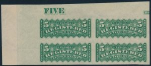 Lot 483, Canada 1890s five cent yellow green Registered, mint imperf corner block of four, sold for $2300