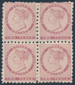 Lot 562, PEI 1861 two pence dull rose block of four, mint F-VF, sold for $1610