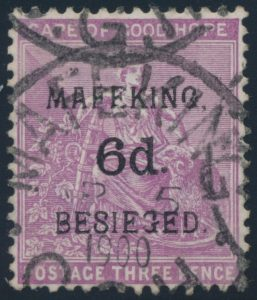 "Lot 715, 1900 COGH ""Mafeking Besieged"" surcharges, 6d on 3d example, set sold for $1035"