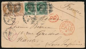 Lot 1030, Canada 1873 pre-UPU advertising cover from Montreal to Nantes France