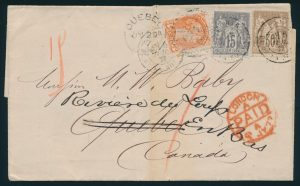 Lot 1032, France/Canada 1877 folded letter Paris to Québec City through London