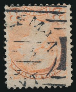 Lot 1139, Coleman Ontario squared circles on three cent Small Queen, and on covers
