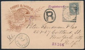 Lot 1177, 1895 SMITH FALLS ONT squared circle on eight cent small Queen cover