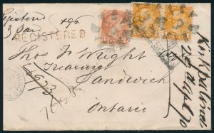 Lot 1272, Kingston fancy 9 cancel on 1870 one cent orange Small Queen Registered cover to WindsorL