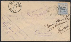 Lot 1390, 1900 Very Fine Boer War cover from Thaba Nchu to Barrie Ontario, then Toronto