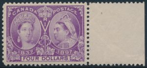 Lot 189, Canada 1897 four dollar purple Jubilee, XF NH with sheet margin, sold for $12,650.