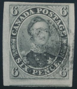 Lot 25, Canada 1855 six pence greenish grey Consort, XF used