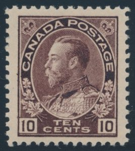 Lot 284, Canada 1912 ten cent plum Admiral, XF NH