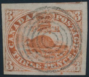 Lot 3, Canada 1851 three penny redbeaver on laid paper, major re-entry, used F-VF