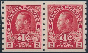 Lot 333, Canada 1916 2c on 1c carmine Admiral War Tax coil pair, XF NH