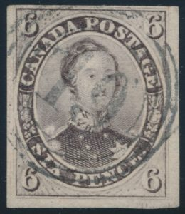 Lot 39, Canada 1857 six pence reddish purple Consort, used with London 4-ring, ex-Danny Cantor