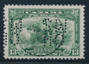 Lot 490, Canada 1932 thirteen cent Britannia 5-hole OHMS official, VF used