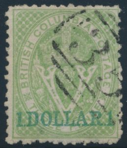 Lot 619, British Columbia 1869 one dollar on three pence green Queen Victoria, VF used with grid cancel