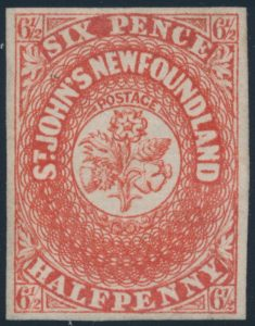 Lot 670, Newfoundland 1857 six and a half pence scarlet vermilion Heraldic, VF unused