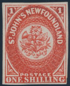 Lot 674, Newfoundland 1857 one shilling scarlet vermilion Heraldic, VF unused