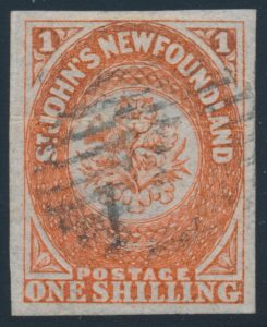 Lot 682, Newfoundland 1860 one shilling orange, used VF appearance