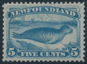 Lot 707, Newfoundland 1880 five cent pale blue Harp Seal, XF NH, sold for $6,670