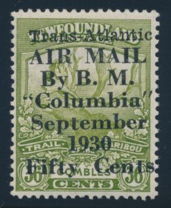 Lot 742, Newfoundland 1930 50c on 30c Columbia surcharge, F-VF NH