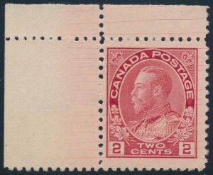 Lot 266, Canada 1912 two cent deep rose red Admiral with hairlines, F-VF NH, sold for C$230